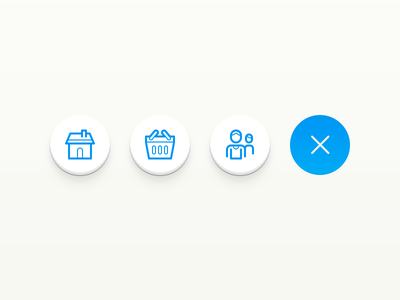 App Design Buttons account shopping shop house home round rounded iconography icons line button ui