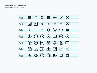 E-commerce / Comparison inline icon set icon set ui shopping perfect pixel icons small inline commerce e-commerce