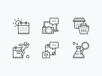 Calendar Activities: Icon set research sports shopping retail notifications season icons line set activity activities calendar