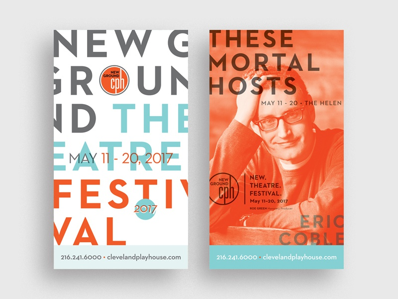 NGTF 2017 blue orange layout cph cleveland play house cleveland eric coble new ground signage festival theatre ngtf