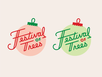 Festival of Trees green red lettering mark logo christmas holiday trees ornament