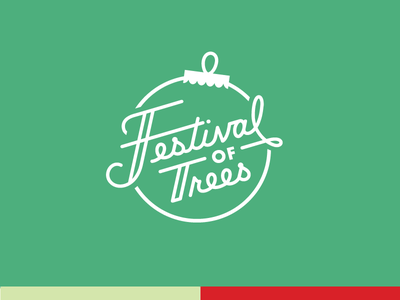 Festival of Trees christmas trees one color green script mark logo lettering holidays