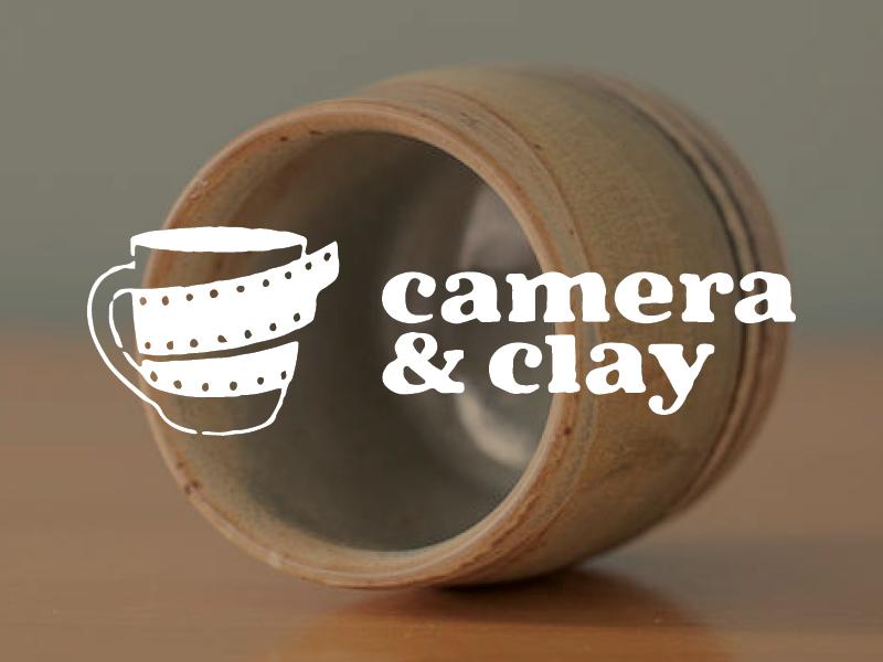 Camera & Clay one color logo 35mm negative earthy pottery clay camera mug film