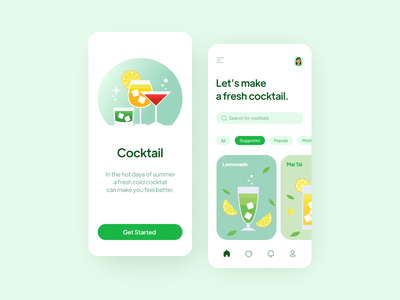 Cocktail app flat illustration app ui design