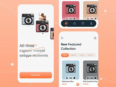 Camera Shop App fujifilm instax ui8 sajon piqo minimal design dribbblers designinspiration app design ux ui camera shop clean design