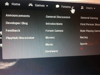 Forums Dropdown Menu