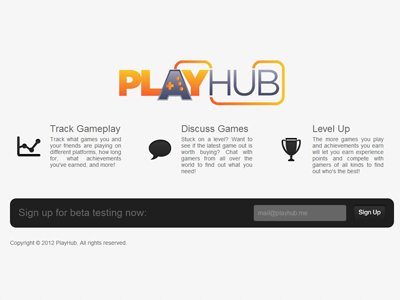 PlayHub Landing Page playhub landing design coming soon