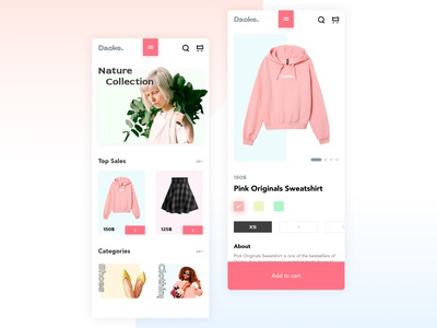 Daoke. Women Fashion Mobile App UX-UI Design ux ui mobile ux ui mobile design mobile app design minimal fashion design clean app