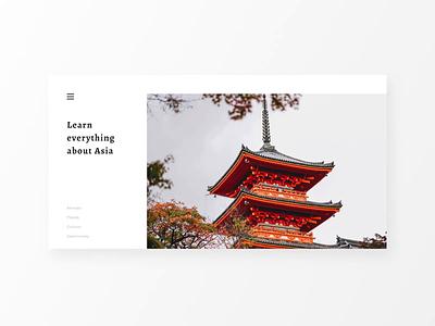 Asia - Web Design clean minimal ui design animation gastronomy places culture animals travel asia webdesign web