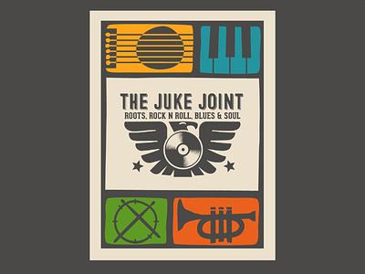 The Juke Joint 2 for dribbbs palette color branding trumpet guitar piano drum logo blues roll rock stars bird merch music joint juke