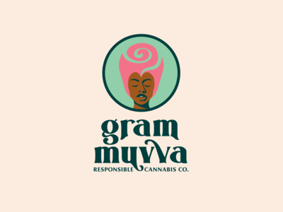 Gram Muvva For Dribbbs 3 minimal consious brands third eye smoke rose willow beautiful cannabis branding cannabis logo illustration palette color branding logo
