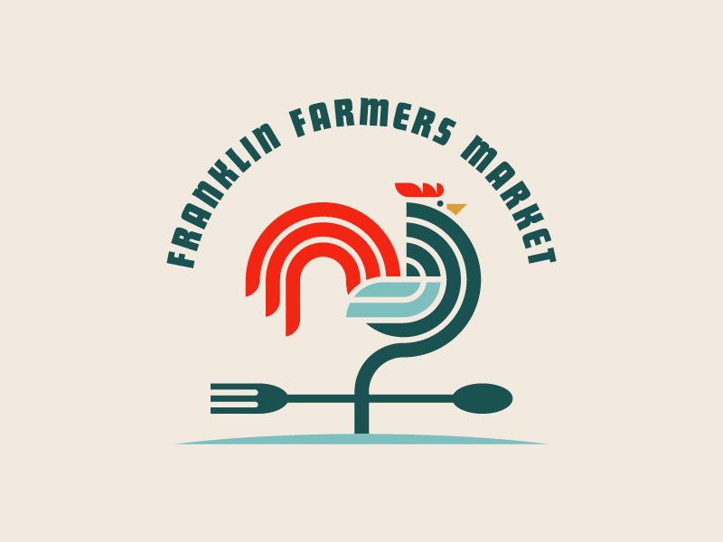 Franklin Farmers Market For Dribbbs circles lines branding spoon fork rooster tennessee weather vane modern farmers market geometric logo