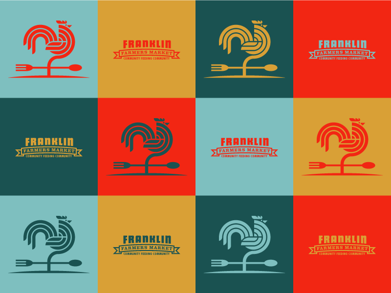 Franklin Farmers Market Grid For Dribbbs modern grid circles rooster weather vane squares tennessee minimal color shapes geometric farmers market branding logo palette