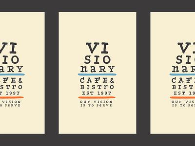 visionary eye chart eye poster bistro cafe coffee hand palette branding logo vision chart