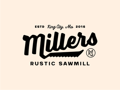 Millers Rustic Sawmill for Dribbbs rural vintage logotype badge rustic sawmill branding logo