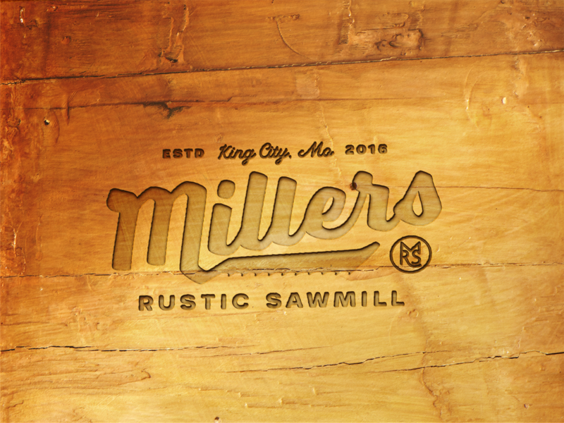 Millers wood logo mockup for dribbbs