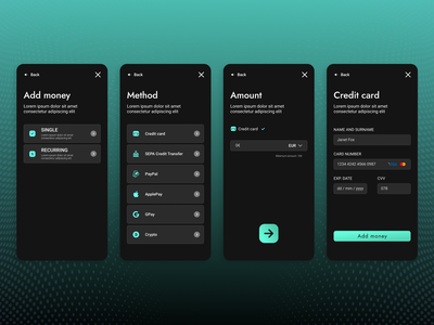E-wallet mockup 2 credit card add money defi fintech e-wallet app mobile ux ui design