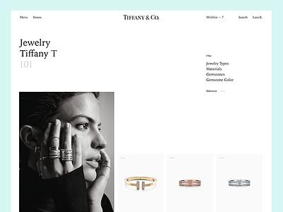 Tiffany & Co. minimal mobile app ui web site category tiffany