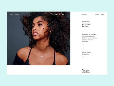 Tiffany & Co. minimal mobile app ui web site page tiffany