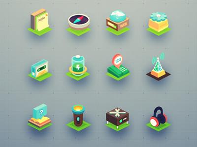 Isometric icon set (32 icons) isometric icon fireworks icon-set cubic