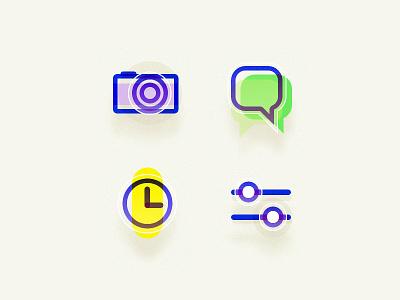Icon camera sms clock setting