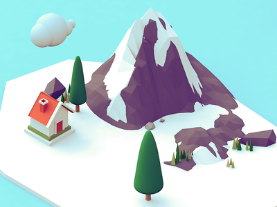 North Pole cloud ice island tree house lowpoly 3d illustration c4d