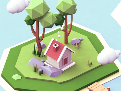 Small island low poly isometric cinema 4d c4d house island render illustration rock 3d lowpoly tree