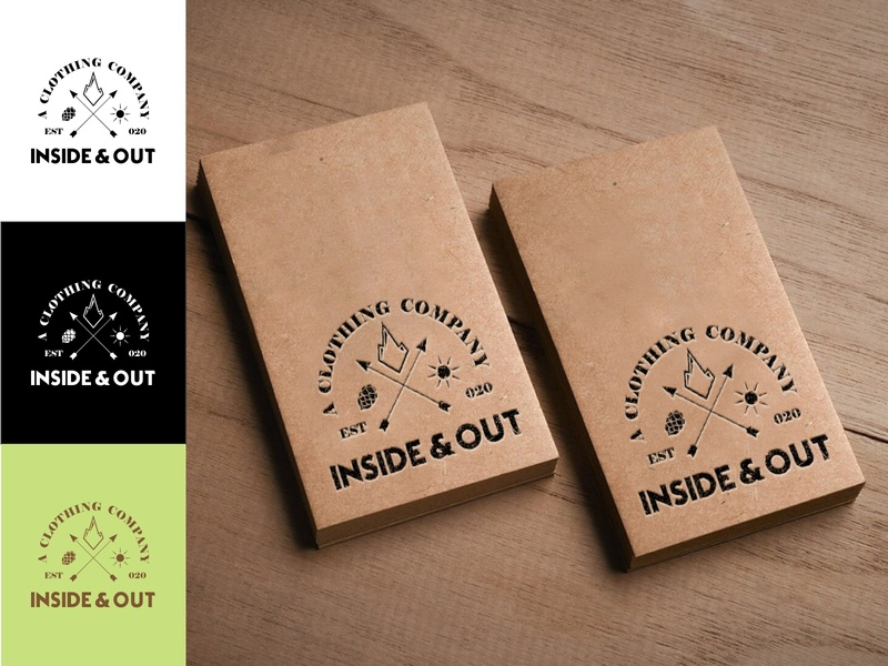 INSIDE AND OUT mockup tag icon flat design typography minimal logo coreldrawx7 branding