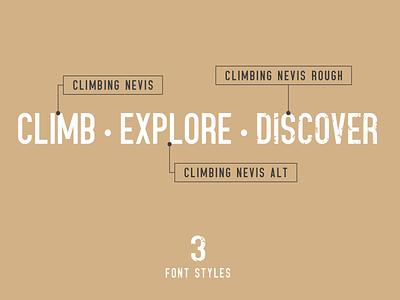 Climbing Nevis condensed font condensed eroded font sans serif display typeface display font font design font