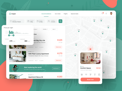 Tripper - online booking app web ui apartments hostels hotels flights car rental hotel accommodation booking app uidesign airbnb book online webdesign web design ui booking