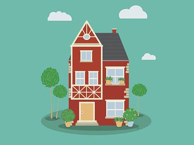 Red brick house vector tree windows flowers garden design illustration dream redbrick house