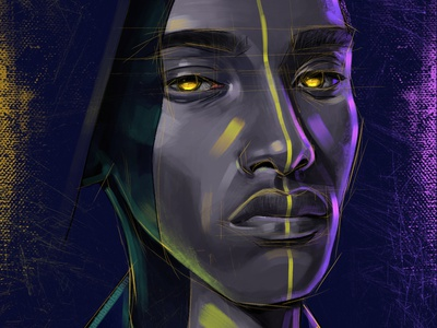 Black portrait blackmeal draw drawing painter paint artist yellow black and white black colors color art direction artwork art design illustration digital painting digitalart