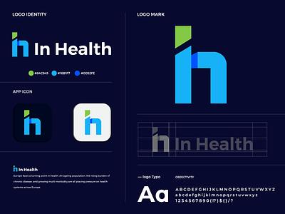 "Modern colorful ""I & H"" letter logo In Health medical logo graphic design logo logo mark logo design creative logo app icon modern logo branding brand identity"