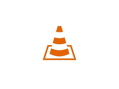 VLC Logo hazard yield caution cone traffic monochrome minimal concept branding video vlc