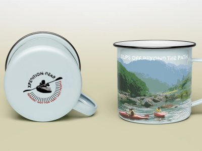 Design a vintage enamel mug for a premium camping/hiking company camping