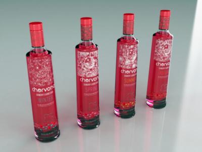 CHERVONA Vodka | Custom Bottle 3D Rendering