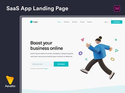 SaaS App Landing Page Design website web ux ui minimal illustration flat design clean character business branding app 3d