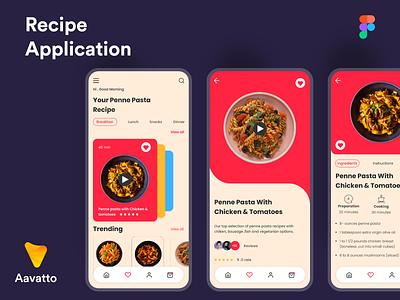 Recipe Application mobile app design clean ui minimal aavatto food recipe android ios app