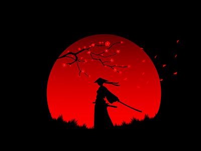 SAKURA flat design minimalism dark warrior japanese culture katana japanese art japan sakura vector illustration