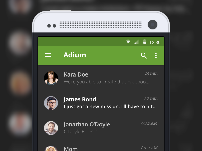 Adium Android App app chat android adium made with invision