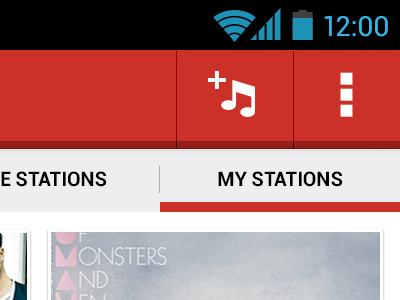 My Stations Screen android app radio red grey black