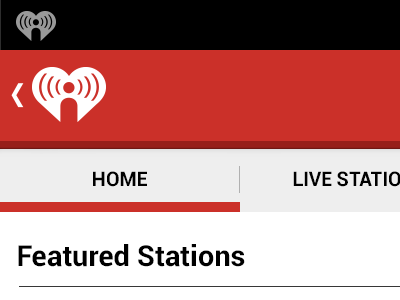 iHeartRadio Home Screen android app radio red grey black