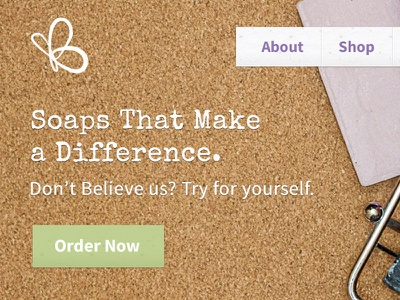 J.B. Signature Soaps Home Page soap home page green blue ecommerce shop