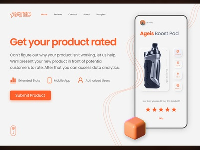 RATED - Website UI Design Landing page color orange 3d ui design uidesign ui mobile ui mobile app ui front page webdesign web web design website design branding call to action minimal landing page hero section website