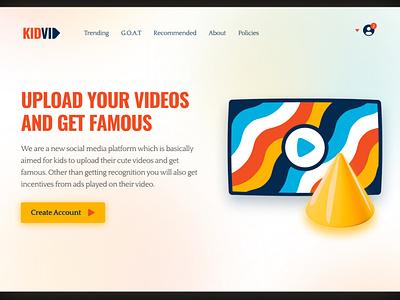 KIDVID - Video Platform For Kids orange shapes kids color playful websites website concept webdesign web uidesign heading ui design design website design ui call to action minimal landing page hero section website