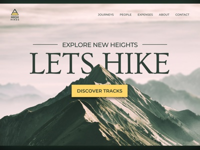 HIGH HIKES - Website UI Design typography hike hiking heights mountain uiux ui design web adventure figma design branding call to action website design minimal ui landing page hero section website