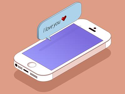 Iphone 5s Isometry iphone minimal vector illustration