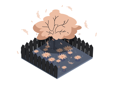 Garden isometry garden isometry vector minimal illustration