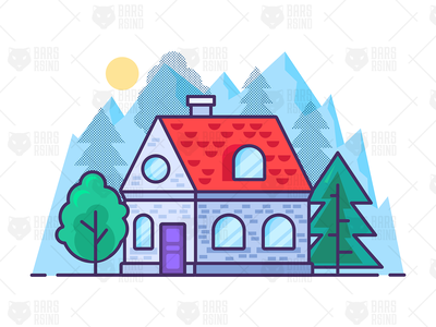 Little House In Mountains live illustration landscape realty estate nature mountains travel park garden tree house home