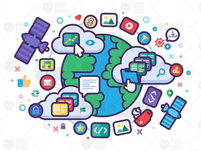 Global Network - Internet design illustration library search social database data server ftp http web backup transfer document file files global network internet